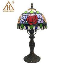 TUDA Free Shipping 8 Inches Rose Table Lamp Multicolor Glass Lampshade Table Lamp Tiffany Style LED Desk Lamp E27 110V-220V(China)