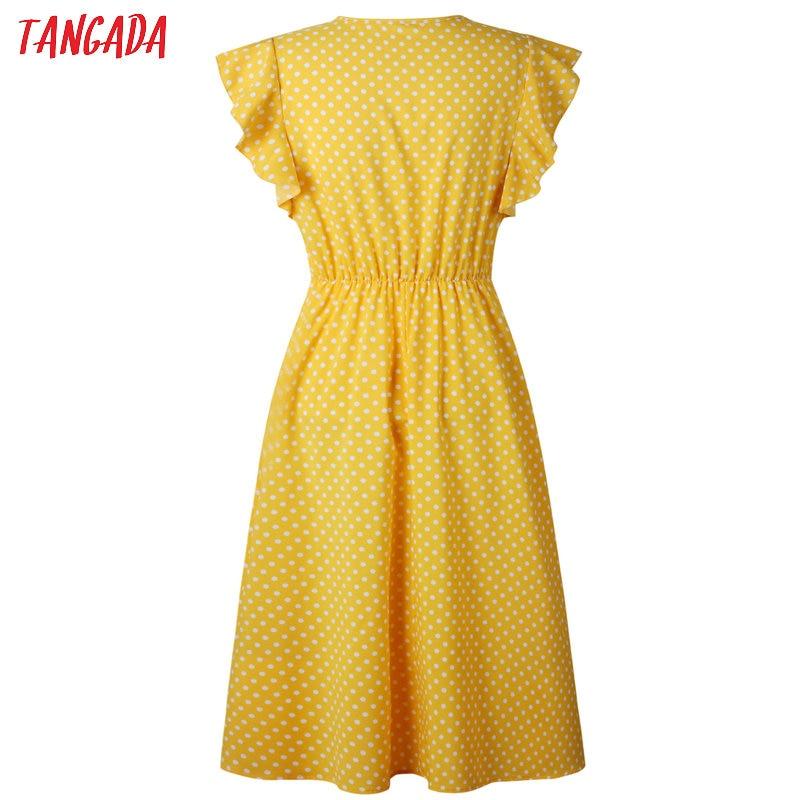 HTB1vLWnvS8YBeNkSnb4q6yevFXar - Tangada polka dot dress for women office midi dress 80s 2018 vintage cute A-line dress red blue ruffle sleeve vestidos AON08