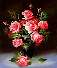 2016 gift set DIY Frameless Pictures Paint By Numbers Digital Oil Painting On Canvas handwork of Flowers and Vase m56