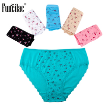Buy FUNCILAC Underwear Women Sexy Plus Size Floral Print Panties Ladies Underpants Mid Rise Briefs Women Cotton Female 5Pcs/Lot