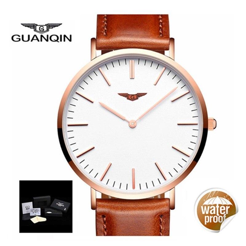 GUANQIN Thin Watch Men 2018 Male Clock Brand Luxury Quartz Watch Men Stainless Steel Mesh Band Mens Wristwatch Relogio Masculino<br>