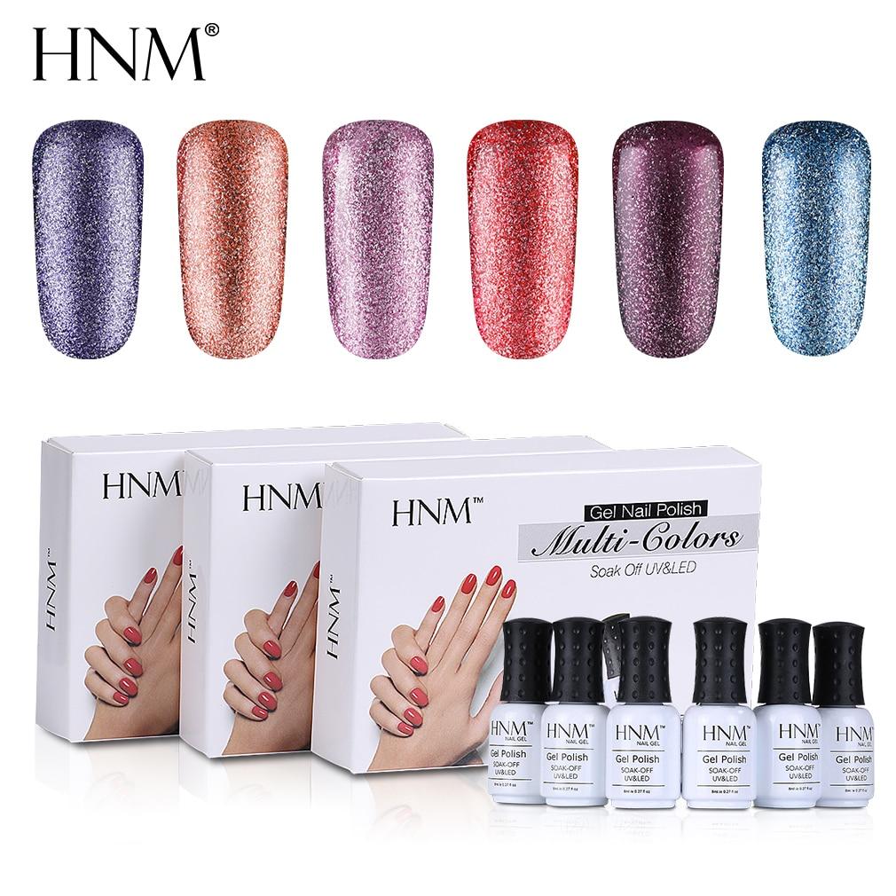 HNM 6pcs/lot 8ML Glitter Gel Nail Set UV Gel Nail Polish Kit Semi Permanent Esmalte GelLak Hybrid Varnishes Acrylic Nail Art Kit