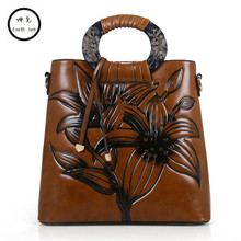 Chinese wind Women Vintage Shoulder Bag Embossed Messenger Bags Shopping Casual Brand Famous PU Leather Single CrossBody handbag(China)