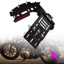 Motorcycle Telescopic Folding Side Mount License Plate Holder White LED Tail Light For Harley Dyna Fat boy 883 1200 XL 07-16(China)