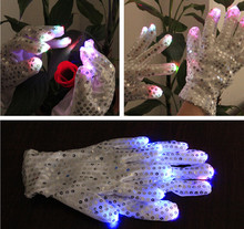 5pairs Cool Unisex light Sequined Gloves Party decoration supplies LED Gloves Dance Rave Finger Laser Glowing Party Gloves Toy