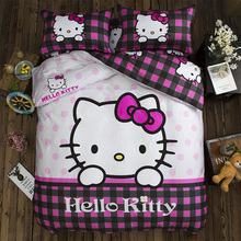 2017 Cotton Bedding Set Hello Kitty duvet cover Bed linens 3pcs/4pcs bed set Home bedclothes kids white pink plaid bed sheet set(China)