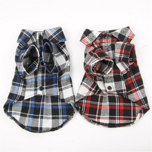 Casual Small Pet Dog Puppy Plaid T Shirt Lapel Coat Tops Cat Jacket Clothes Apparel