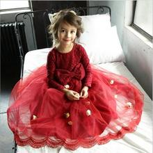 girl christmas dress korea brand girls princess dresses lace bow tulle kids party dresses wholesale Childrens clothes
