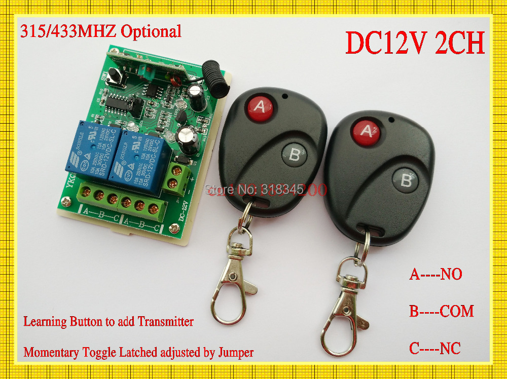 DC 12V 2 CH RF Wireless Remote Control Switch System,2 X Transmitter + 1 X Receiver,315/433 MHZ Learning  Momentary Toggle Latch<br><br>Aliexpress