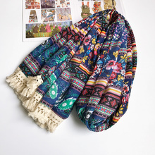 Women Ancient Floral Cotton Scarf Ethnic Paisley Tassels Hijab Blanket Shawl Hot 180x90 cm [1938](China)