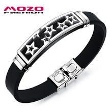 MOZO FASHION Hot Brand Men's Stainless Steel Silicone Rubber Wristband Star Bracelet Stylish Men Casual Jewelry 2 Colors MPH1088