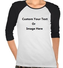 Custom Your Text or Image White Black Womens 3/4 Sleeve T shirts Persionalized Custom 100% cotton O-neck Plus Size Tops