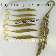 Free Shipping Zinc Metal Alloy small Feather Charms Jewelry Bookmarks Buy 6 get 1 free, Jewelry Bookmarks Wholesales(China)