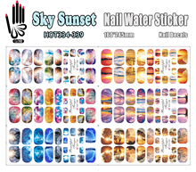 6 Sheets/Lot Art Nail HOT334-339 Sky Sunset Full Cover Nail Film Nail Art Water Sticker Decal For Nail Art (6 DESIGNS IN 1)(China)