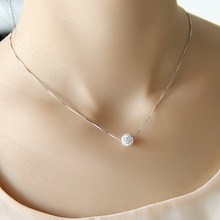 S925 pure silver necklace female short design crystal ball chain elegant brief anti-allergic(China)