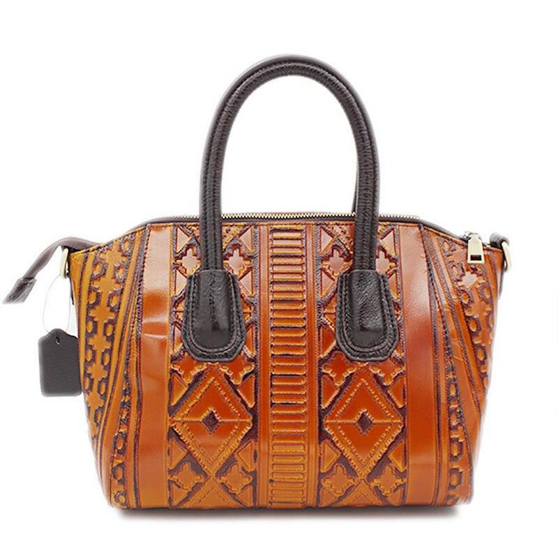 New Arrival Women Genuine Embossed Leather Tote Handbag Vintage National Style Messenger Bag Famous Brand Office Shoulder Bags<br>