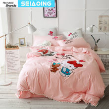 100% cotton hello kitty bedding set queen king size cartoon animal rabbit bear quilt cover lace edge embroidery bed linens girl