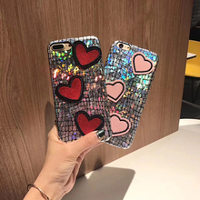YESPURE Red Heart Bling Glitter Phone Case Covers for Iphone 7plus Anti Shock Soft Handphone Accessories for Lady Cheap Cases(China)