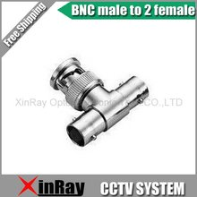 Free Shipping High Quaility 10pcs/lot New BNC 1 Male to 2 Female AV Splitter Adapter ,CCTV Accessories ,Wholesale XR-AC11