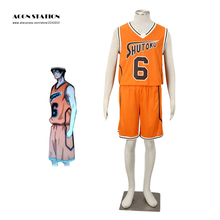 Free Shipping Orange Kuroko no basket No. 6 Midorima Shintaro Cosplay Costume Shutoku Basketball Costume For Kid and Men Costume(China)