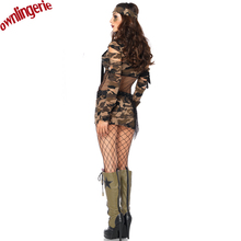 Camouflage Army Military Uniform Cosplay Carnaval Police Costume Women Adult Sexy Halloween Costumes with Belt and headdress