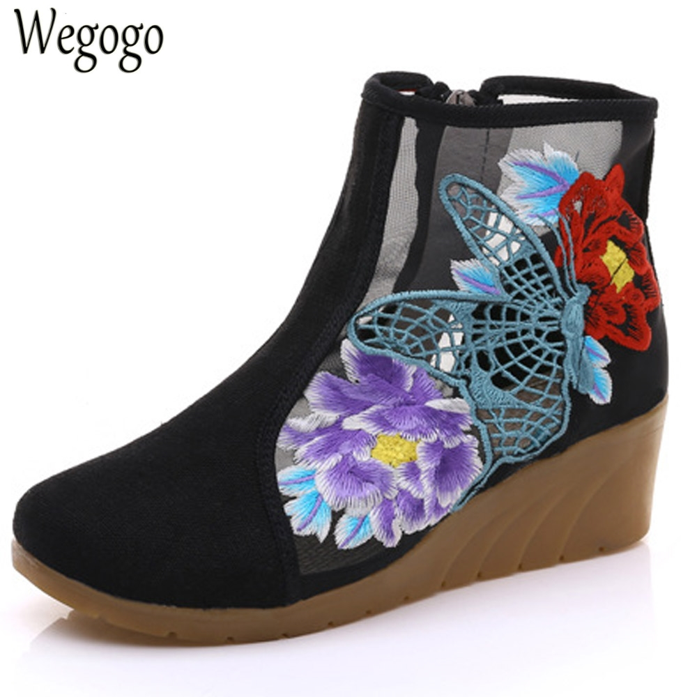 Wegogo New Women Boots Springs Summer Hollow Butterfly Embroidered Shoes Original Cloth Canvas Floral Fashion Boots<br>