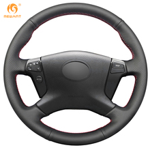 MEWANT Black Genuine Leather Car Steering Wheel Cover for Toyota Avensis 2003-2007(China)