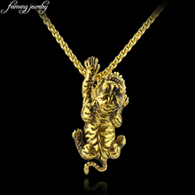 Novelty Animal 3D Tiger Necklace Classic Smilodon Shape Gold Color Pendant Necklace For Men Women Fashion Jewelry Accessories