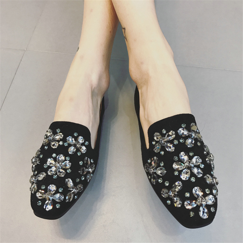 Free shipping spring/autumn womens casual rhinestones decoration flat heel shoes velvet comfortable single shoes<br><br>Aliexpress