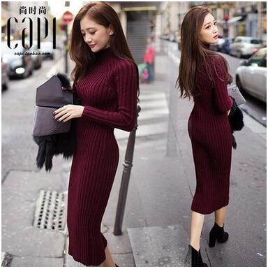 MLXSLKY Autumn and winter new knit dress package hip semi-high-necked thick womens long sweater dress