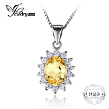 JewelryPalace Kate Princess Diana 1.8ct Natural Citrine Halo Pendant 925 Sterling Silver Jewelry 2016 Fashion Fine Jewelry