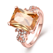 Trendy Square Zircon Ring Real  Rose Gold colour Genuine SWA Stellux Austrian Crystal Female Rings