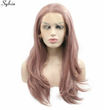Natural Wave Milky Lavender Pastel Pink Purple Mixed Hair Heat Resistant Synthetic Wigs Lace Front Wig Layered Hairstyle Sylvia(China)