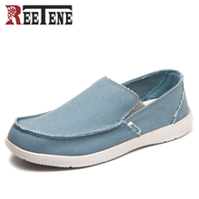 REETENE Canvas Shoes Men's Sneakers Breathable Ultra-light Loafers Slip-On Mens Casual Shoes Hot Sale Spring Walking Flats 44 45(China)