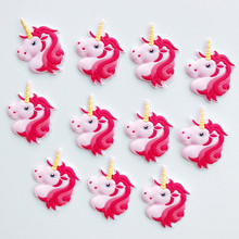20pcs/lot Cute unicorn cartoon flatback DIY hair bow accessories shower decoration Center Crafts(China)