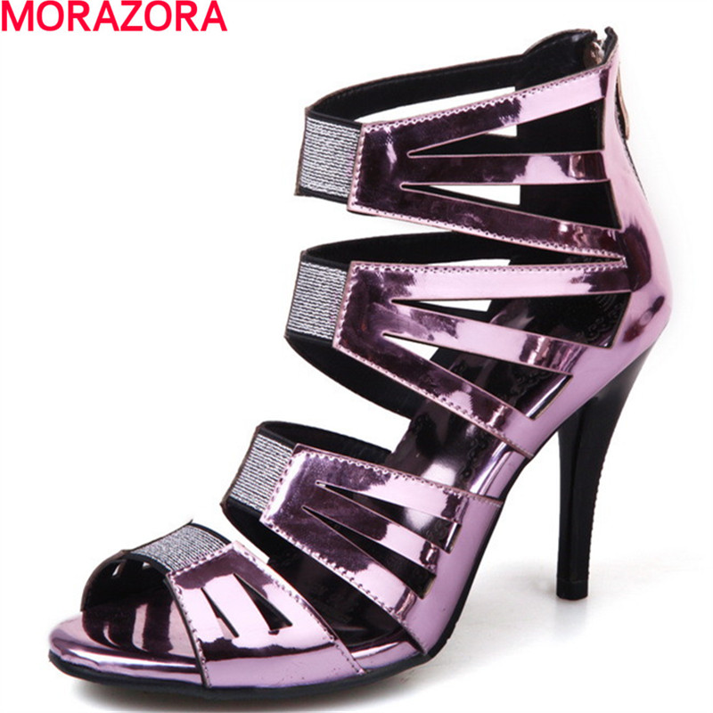 MORAZORA  Roman wind party high heels 10cm women sandals ladies solid  fashion buckle summer shoes Plus size 34-44<br>