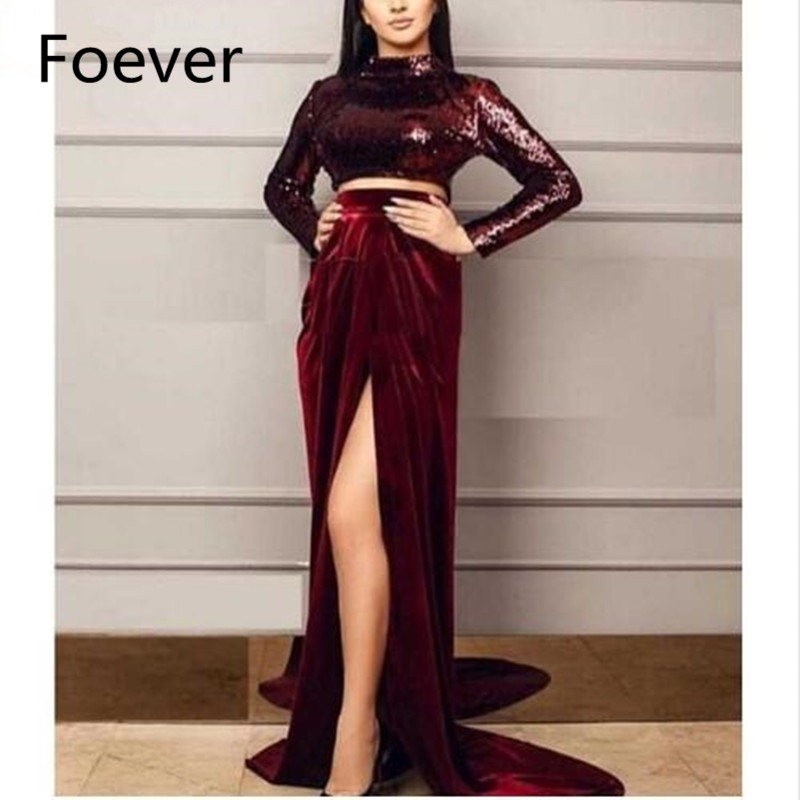 Vestido de Festa Bling Sequin High Neck Long Sleeve High Slit Two Piece Burgundy Velvet Evening Dress 2019