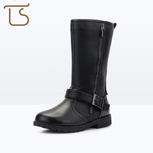 T.S. kids boots new leather round toe anti slip zip Thickening winter fashion girls Martin black camel children's rubber boots(China)