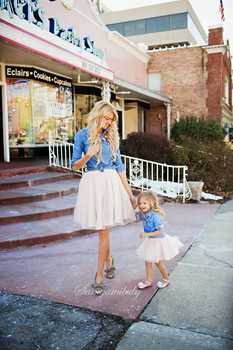 Family Matching Clothes Outfits Mother Daughter Clothing sets Denim Shirts+TUTU Skirts Sets Girl kids clothing Mom kids clothes