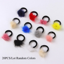 20PCS/Lot New Colorful Mink hair Black Elastic Hair Bands Girls Tie Ponytail Holder Hair Ropes Kids Headbands Hair Accessories