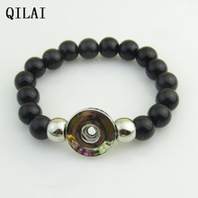 wholesale hand-made Elastic bracelet  black peral 18mm snap button bracelet   for snap button jewelry 10pcs/lot