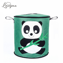 LMETJMA 72L Panda Clothing Toy Storage Boxes Oxford Cloth and EPE Children's Toy Books Sundries Organizer Toys Storage Bin U0026
