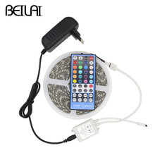 BEILAI 5050 RGB LED Strip Waterproof 5M 300LED DC 12V RGBWW RGBW LED Light Strips Flexible Neon Tape Add Remote and 3A 36W Power(China)