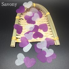 1500pcs 25mm White Purple Heart Shape Love Tissue Paper Confetti For Wedding Birthday Party Table Decorations