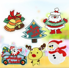 CPAM Shipping mixed 12 pcs christmas series  Embroidered cartoon patch iron on Motif Applique, garment embroidery  DIY accessory