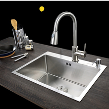 C&C Kitchen Sink Vessel Set With Faucet Single Sink Kitchen Sink Washing Vanity SUS304 Stainless Steel(China)