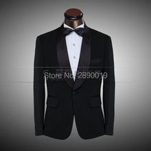 Black White Handsome Gentlemen Suits Wedding Party Groom Man Blazers Evening Party Male Suites Slim Fit Jackets Pants Bowtie