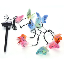 12 Led Butterfly Fiber Solar Powered Optic Fairy String Outdoor Garden Lights Christmas Party Festival Decor