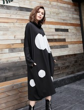 [IASK] 2017 Autumn Winter New Pattern Dress Woman Loose Patch High Lead Long Sleeve Fashion All-match Big Size Dress YA49701(China)