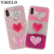 YiKELO Glitter Peach Heart Jelly Phone Case Candy Soft Silicone TPU Love Cover For iphone X 6 6S 7 8 Plus Coque Shell Back Cover